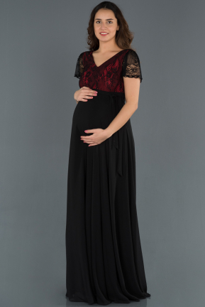 Long Red Pregnancy Evening Dress ABU749
