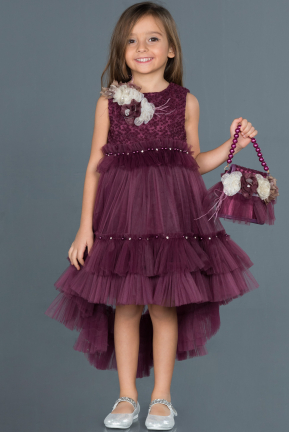 Front Short Back Long Purple Girl Dress ABO049