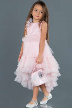 Front Short Back Long Pink Girl Dress ABO049