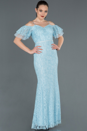 Long Light Blue Laced Evening Dress ABU1358