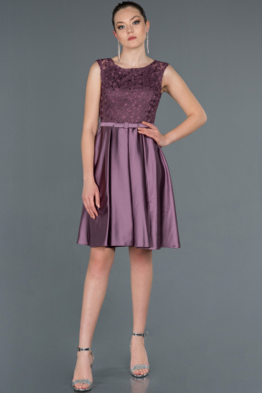 Short Lavender Satin Invitation Dress ABK750