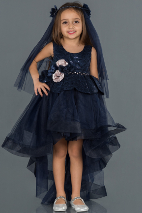 Front Short Back Long Navy Blue Girl Dress ABO052