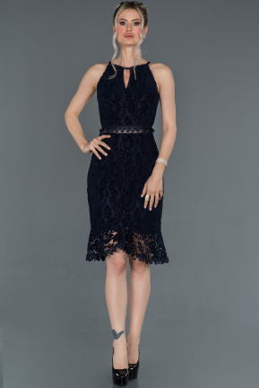 Navy Blue Velvet Invitation Dress ABK634