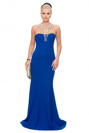 Long Sax Blue Evening Dress C7183