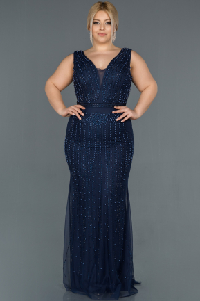Navy Blue Long Oversized Mermaid Evening Dress ABU872
