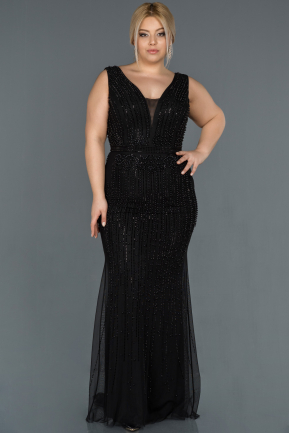 Long Black Oversized Mermaid Evening Dress ABU872