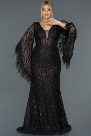 Long Black Oversized Evening Dress ABU1219
