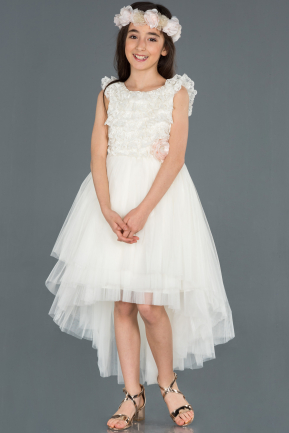 Front Short Back Long Cream Girl Dress ABO056
