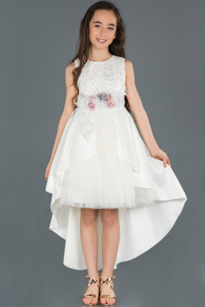 Front Short Back Long Cream Satin Girl Dress ABO057