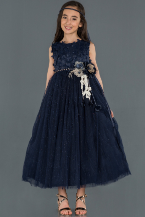Long Navy Blue Girl Dress ABU1235