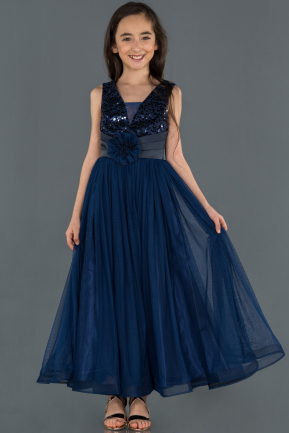 Long Navy Blue Girl Dress ABU1242