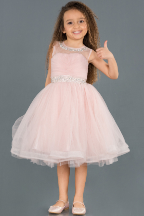 Short Powder Color Girl Dress ABK753