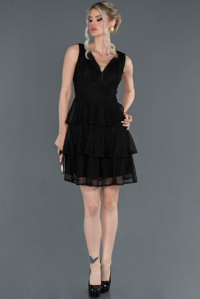 Short Black Laced Prom Gown ABK760
