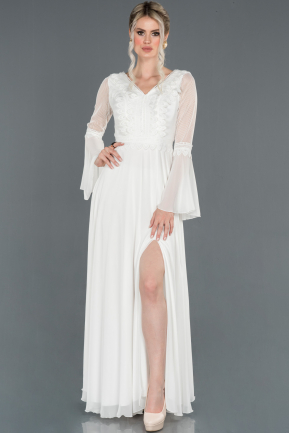Long White Prom Gown ABU1252