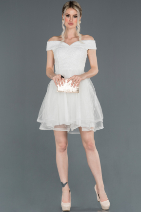 Short White Prom Gown ABK776