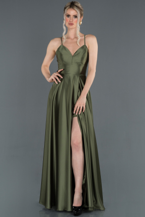 Olive Drab Long Satin Prom Gown ABU1182