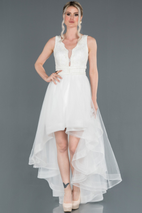 Front Short Back Long White Prom Gown ABO059
