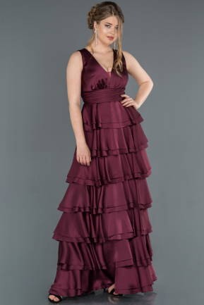 Long Plum Satin Prom Gown ABU1261