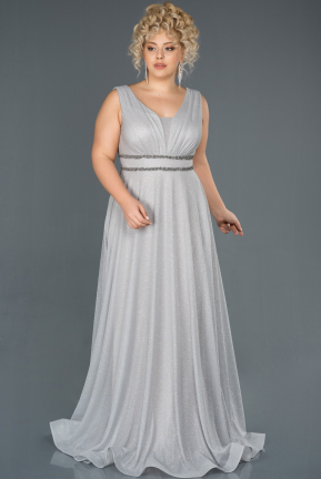 Long Silver Plus Size Evening Dress ABU1273