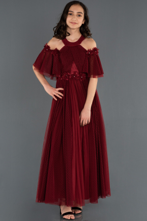 Long Burgundy Girl Dress ABU1246