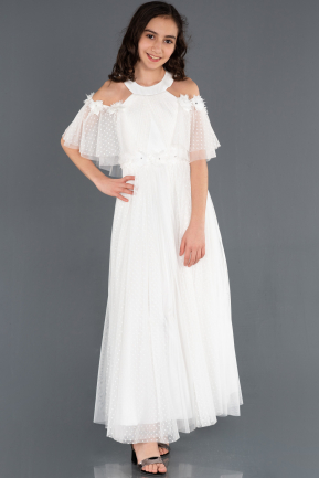 Long White Girl Dress ABU1246