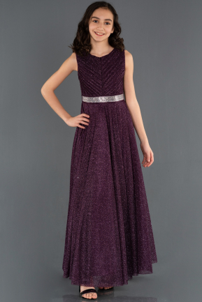 Long Dark Purple Girl Dress ABU1228