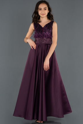 Long Dark Purple Girl Dress ABU1230