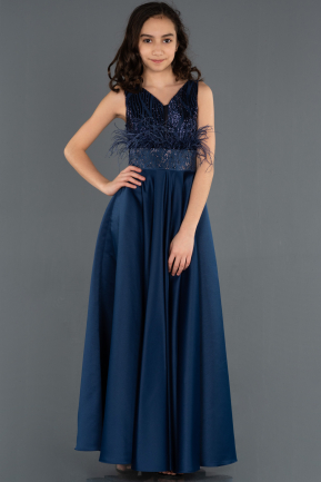 Long Navy Blue Girl Dress ABU1230