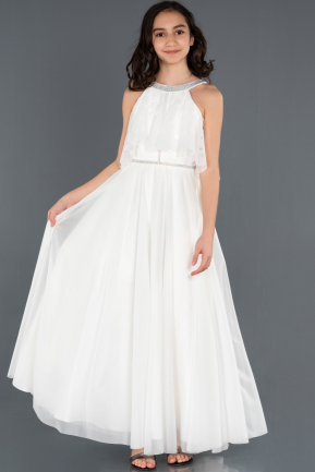 Long White Girl Dress ABU1232