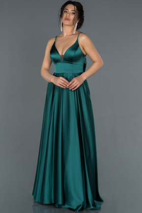Long Emerald Green Satin Prom Gown ABU1279