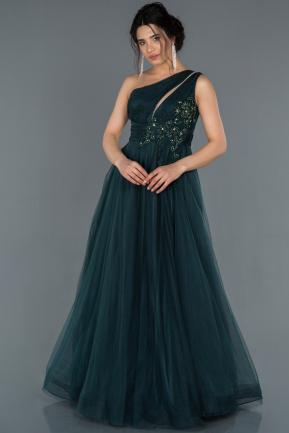 Emerald Green Stone Embroidered Princess Evening Dress ABU1157