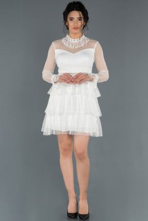 Short White Prom Gown ABK626