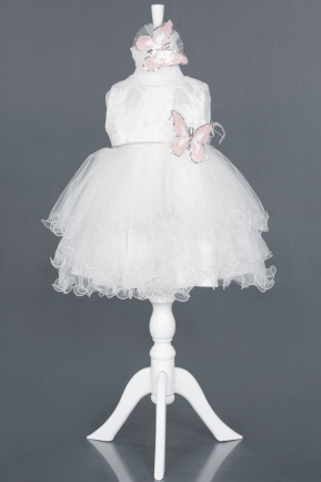 Short White Girl Dress ABK790