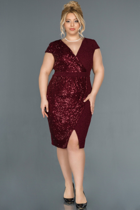 Short Burgundy Plus Size Evening Dress ABK806