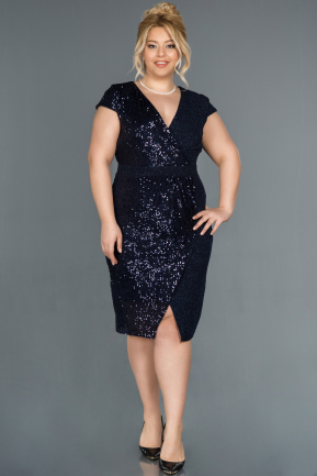 Short Navy Blue Plus Size Evening Dress ABK806
