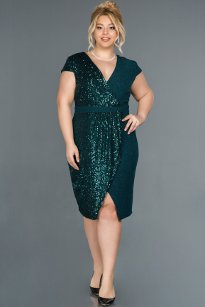 Short Green Plus Size Evening Dress ABK806