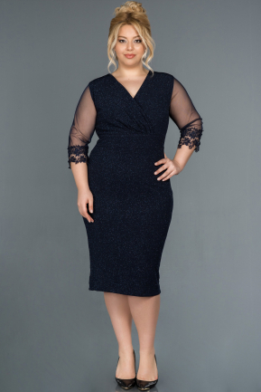 Short Navy Blue Plus Size Evening Dress ABK808