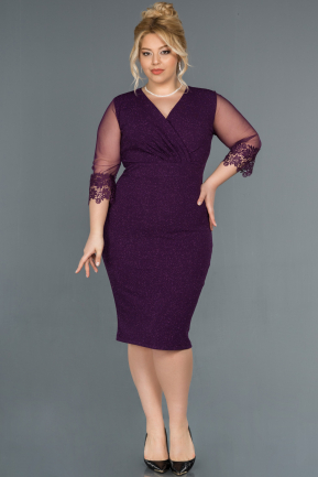 Short Purple Plus Size Evening Dress ABK808