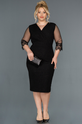 Short Black Plus Size Evening Dress ABK808