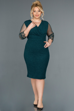 Short Green Plus Size Evening Dress ABK808