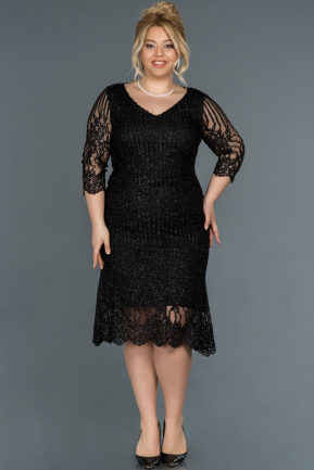 Short Black Plus Size Evening Dress ABK813