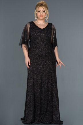 Long Black-Silver Oversized Evening Dress ABU1319