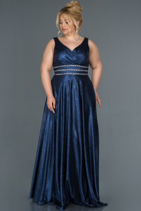 Long Navy Blue Plus Size Evening Dress ABU1309
