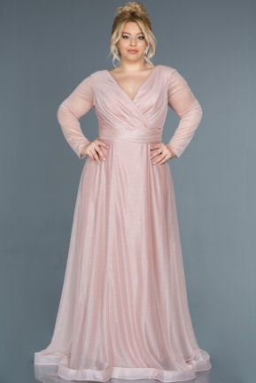 Long Powder Color Oversized Evening Dress ABU991