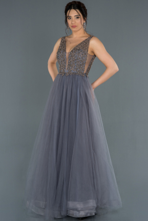 Long Anthracite Engagement Dress ABU1330