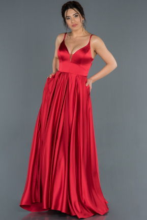 Long Red Satin Prom Gown ABU1279