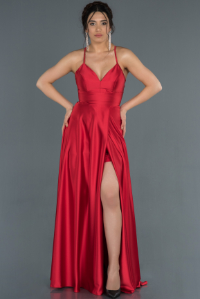 Red Long Satin Prom Gown ABU1182