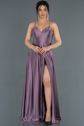 Lavender Long Satin Prom Gown ABU1182