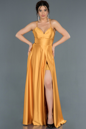 Long Saffron Satin Prom Gown ABU1182