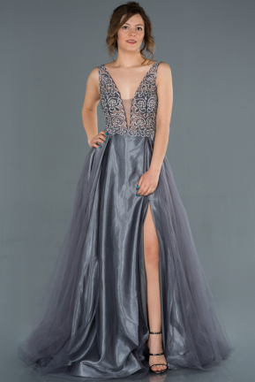 Long Anthracite Engagement Dress ABU1331